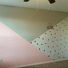 Girls Room Paint, Girl Bedroom Walls, Accent Wall Bedroom, Room Ideas Bedroom, Baby Room Decor, Bedroom Colors, Bedroom Decor, Geometric Wall Paint, Room Wall Painting