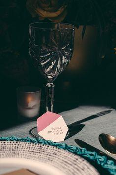 geometric place setting, photo by JBM Wedding Photography, styling by Tinsel & Twine http://ruffledblog.com/bold-geometric-wedding-inspiration #weddingideas #placesettings