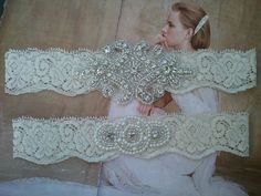 SALE - Wedding Garter, Bridal Garter, Garter Set - Crystal Rhinestone & Pearls on a Ivory Lace - Style G2300