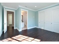 love the dark wood with white trim, baseboard, & doors!