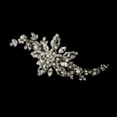 Diamond White Pearl and Diamante Rhinestone Wedding Hair Clip - Affordable Elegance Bridal -