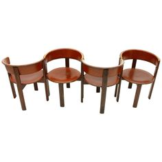 Set of Four Cassina Chairs in Leather and Wood, Italy image 2