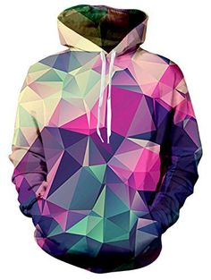 Raisevern Printed Drawstring Sweatshirts Pointedness Rainbow Hoodie For Mens
