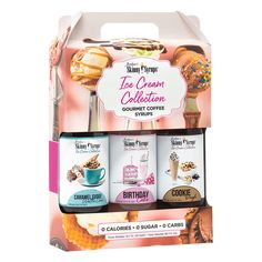 A delicious assortment of our newest Skinny Syrups in a delightful gift box. (3) 12.7 oz bottles of each flavor- Caramel Fudge Waffle Cone, Birthday Cake, Cookie Dough. Add guilt-free free flavor to coffees, lattes, protein shakes, smoothies, baking, oatmeal or just about anything. 0 Calories. 0 Sugar. 0 Carbs. Includes 3 bottles. 375ml/12.7 oz each flavor Gluten Free & Kosher. Keto-Friendly. Made in the USA. Get a perfect portion every time you pour with our Mini Trio Pump! Caramel Crunch, Caramel Fudge, Sugar Free Coffee Syrup, Trio Of Desserts, Skinny, Waffle Cones, Birthday Cookies, Birthday Cake, Fun Drinks