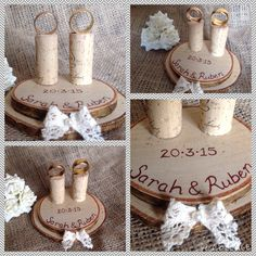 Lilly Dilly's handmade bespoke personalised ring bearers stand #wedding #rings #stand #personalised #log slice #cork #rustic #lace #pageboy #ring bearer