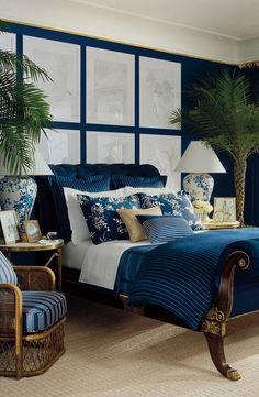 A deep navy can instantly transform your bedroom into a relaxing, sophisticated haven. A classic dark blue like Ralph Lauren Paint's Great Harbour is perfect for the project.
