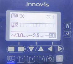 The LCD screen on the front of the machine shows that the feather stitch has been selected. Width and length of this stitch are not adjustable as indicated by the solid blue width/length icons. Feather Stitch, Blanket Stitch, Office Phone, Brother, Applique, Sewing, Quilt, Icons, Blue