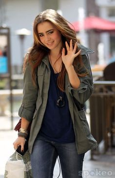 Lily Collins -- casual street