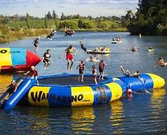 Waimarino adventure park with their Blob and UFO inflatable activities