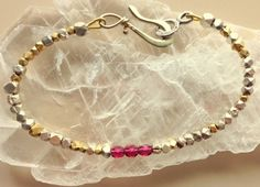 Ruby Silver And Gold Bracelet by MAGICALUNIVERSE on Etsy