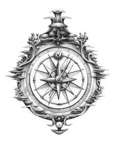 Tattoo Compass Vintage Lost Ideas For 2019 Vintage Compass Tattoo, Nautical Compass Tattoo, Compass Art, Compass Drawing, Compass Tattoo Design, Compass Rose, Tattoos Skull, Dog Tattoos, Hand Tattoos