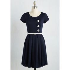 Nautical Mid-length Short Sleeves A-line Happy Hosting Dress