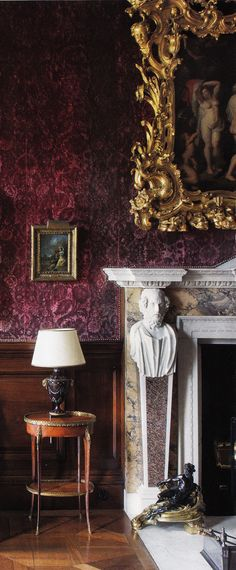 Vignette.  Ireland's Russborough Estate circa 1740 - Saloon. Elle Decor.