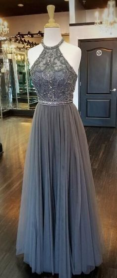Grey Halter Beaded Long Prom Dress Fahion Beadings Evening Party Dress Custom Made Tulle School Dance Dresses Grey Prom Dress, Grad Dresses Long, Tulle Prom Dress, Cheap Prom Dresses, Evening Dresses, Dress Long, Fancy Dress, Dresses Dresses, Silver Prom Dresses