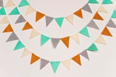 Looking at the colors together....      Mini Felt Bunting Garland aqua pumpkin gray cream by stephlovesben, $12.00--the colors of this fall :)
