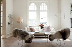 living room - windows - fur - chairs - white