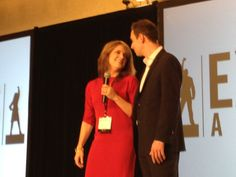 """Brendon Burchard and I sing a rousing version of """"Endless Love"""" on stage. (Not really - but that's SO what it looks like.)"""