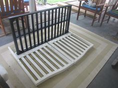 I think this is how I might turn my crib in to a bench!! I want to make it so it has storage under the seat tho...maybe a little ambitious!