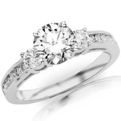 1.1 Carat Channel Set 3 Three Stone Diamond Engagement Ring with a Round Brilliant Cut / Shape 0.5 Carat D-F Color VS2-SI1 Clarity Center Stone and 0.6 Carats of Side Diamonds: Jewelry: Amazon.com