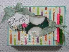 Stampelicious Tealight Box. Can put candy or anything into this cute box. This post contains a tutorial.
