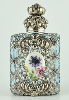 Perfume Bottle Vintage Vanity Light Blue by Jewelryandvintage