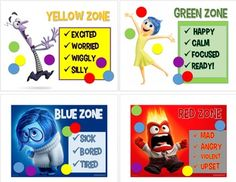 The proper sequence is Blue, Green, Yellow then Blue. Use this chart as a teaching tool to help students relate to each character. Display this at your calming corner and ask each child, when character they feel like most and why.