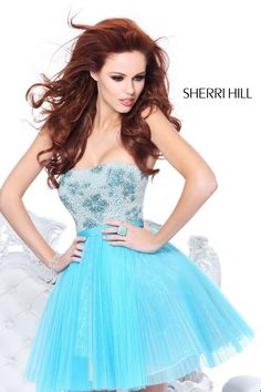 2014 Sherri Hill 21150 Aqua Prom Dresses