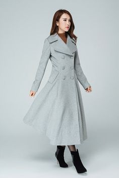 Grey coat, long coat, trench coat, wool coat, double breasted coat, swing  coat, maxi coat, winter coat, gift for her, cashmere coat 1606