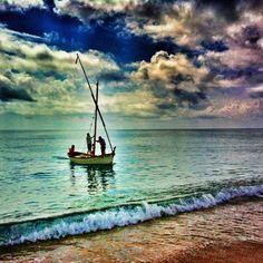 A boat in Pineda de Mar beach.