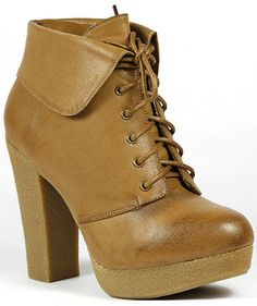 Tan Brown Lace up Platform Ankle Boot Bootie 10 us QUPID IDOTI-06