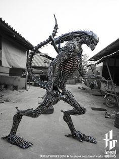 Biomechanical Recycled Metal Monster madetoorder by Kreatworks