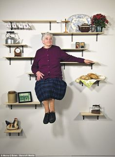Irish design student Darragh Casey created the quirky portraits with the help of a photographer. Together they captured three generations, pictured is his grandmother, on shelves with objects unique to their lives Sweet Station, Glee, Installation Art, Decoration, Free Design, Shelving, Furniture Design, Objects, How To Plan