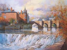 Ian Ramsay Watercolors - The River Dee at Llangollen, Wales