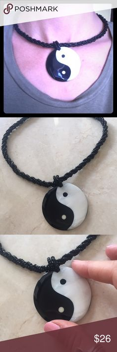 Gorgeous goddess yin yang pendant Handmade in Bali, gorgeous mother of pearl yin yang disc pendant set in resin form. Featuring seed bead necklace with button back closure for a universal fit. Gorgeous handmade piece. Happy shopping! handmade Jewelry Necklaces