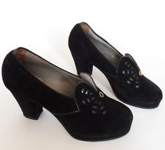 ON SALE --- was 145 --- Amazing 1940s Vintage Black Suede and Patent Leather Platform Pumps from Germany - Art Deco Style - New Old Stock. €100.00, via Etsy.