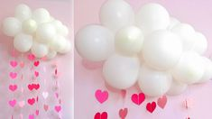 This video tutorial tells how to make a balloons decoration. This beautiful balloon cloud with garlands of hearts can be made for a birthday, wedding or baby. Balloon Clouds, Heart Balloons, Diy Party Decorations, Balloon Decorations, Colored Paper, Diy Tutorial, Diy Wedding, Easy Crafts, Baby Shower