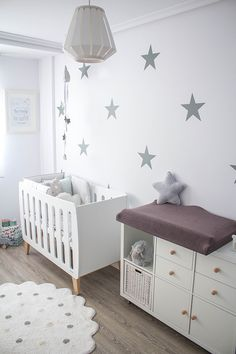 Peel and Stick Confetti Wall Decals Silver Stars Wall Decals Baby Wall Stickers, Nursery Wall Decals, Nursery Room, Star Stickers, Baby Boy Rooms, Baby Bedroom, Baby Room Decor, Ikea Baby Room, Ikea Baby Nursery
