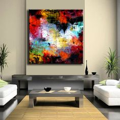 "ORIGINAL Enormous 48"" x 48"" xxl Abstract Painting Original Painting on Canvas Contemporary Painting Wall Art"