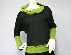 Fledermausärmelshirts - Fledermausshirt schwarz/oliv - ein Designerstück von gutjahr bei DaWanda
