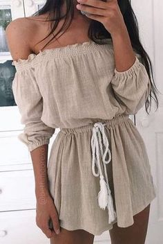 #summer #outfits / off the shoulder slate playsuit