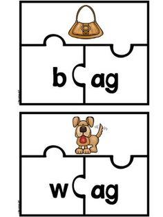 CVC WORD PUZZLES - SHORT VOWELS - ONSET AND RIME - A total of 94 self correcting puzzles to print, cut, and laminate. A school year's worth of literacy centers. Children will practice blending and segmenting onsets and rimes and develop fluency reading word family words.