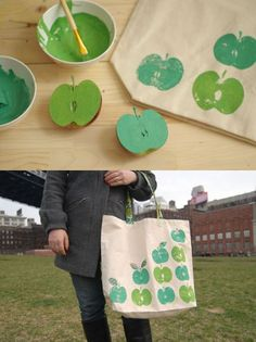 Apple bag.  Made end of school year 2011/2012.  Adorable!  Used apples and one handprint in corner.  All red with green leaves.