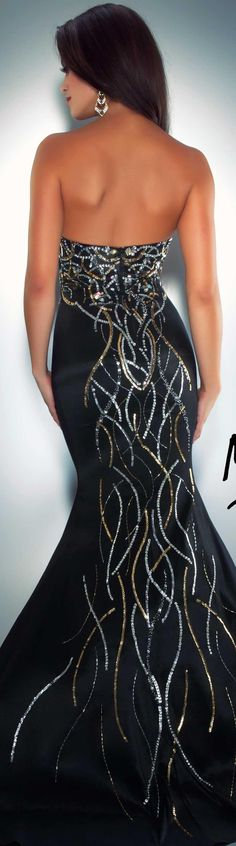 Mac Duggal couture dress black / gold strapless long formal mermaid dress CASSANDRA STONE  STYLE 76490A BACK