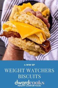 These buttery, fluffy biscuits are WW friendly and make amazing breakfast sandwiches for meal prep and only 4 SP. They are tender, flaky, and a game changer for weight watchers breakfast. #ww #weightwatchers #biscuits #wwrecipes #wwbreakfast #4sp #dwardcooks Fluffy Biscuits, Buttery Biscuits, Low Calorie Recipes, Ww Recipes, Skinny Recipes, Light Recipes, Dinner Recipes, Weight Watchers Breakfast