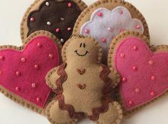 Set of 5 Felt Valentine Cookies-Valentine Decorations-Valentine Decor-Valentine Ornaments-Valentines Day Decorations-Valentines Day Decor