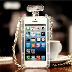 Luxury CC TPU Perfume Bottle Case w/ Leather Chain for iPhone 5 5S 4S Perfume Bottle Handbag Case