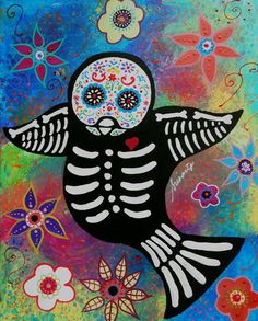 Dia de los Muertos Sparrow Original Painting 20x16 Day of the Dead . penny auction.  Visit pristineturkus.blogspot.com for new paintings for sale