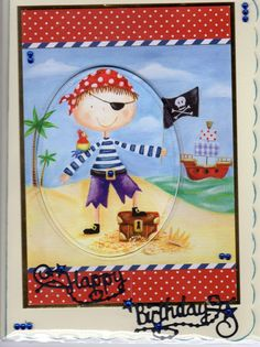 Pirate using the hunky-dory little book topper, tattered lace greeting.