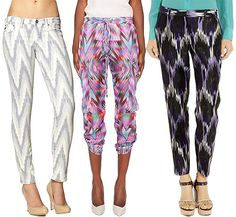 ikat print pants. These patterns are ALL over the place in thrift stores here!