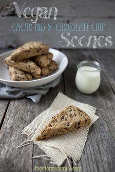 Sweet & Easy Vegan Cacao Nib and Chocolate Chunk Scones via FoodforMyFamily.com